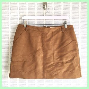 Hinge Brown Suede Mini Skirt Large Pockets